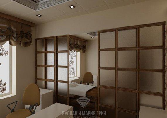 Интерьер кабинета массажиста в спа-салоне в коричневом цвете с элементами арт-деко и модерна
