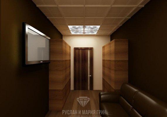 Интерьер комнаты для персонала в спа-салоне в коричневом цвете с элементами арт-деко и модерна
