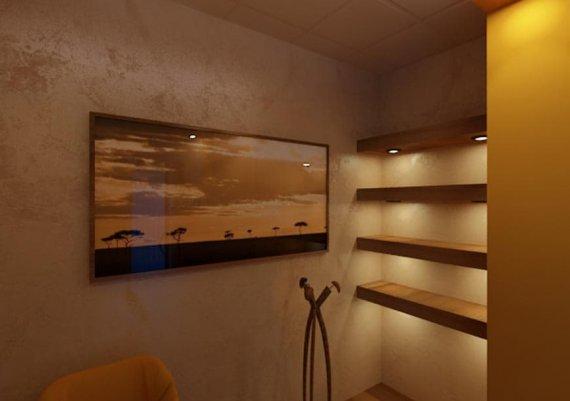 Интерьер солярия в спа-салоне в коричневом цвете с элементами арт-деко и модерна