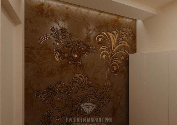 Интерьер женской раздевалки в спа-салоне в коричневом цвете с элементами арт-деко и модерна