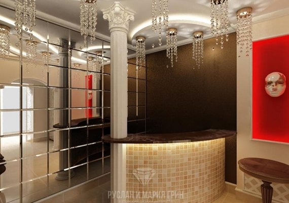 Дизайн интерьера холла в кофейных тонах для салона красоты