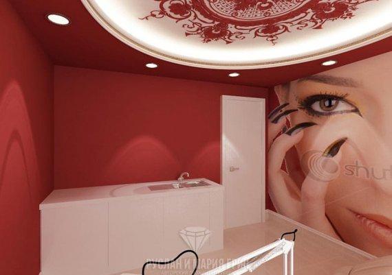 Дизайн интерьера кабинета маникюра в красном цвете для салона красоты