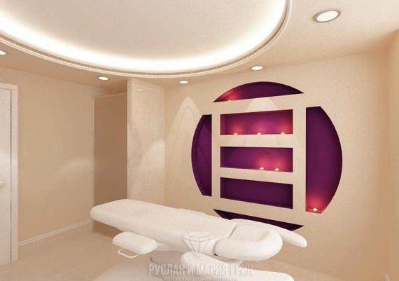 Дизайн интерьера кабинета массажиста в светлых тонах для салона красоты
