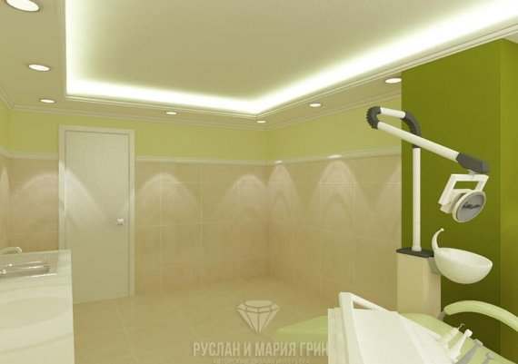 Дизайн интерьера кабинета ортопеда в зеленом цвете для салона красоты
