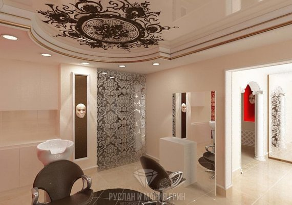 Дизайн интерьера зала салона красоты с элементами арт-деко