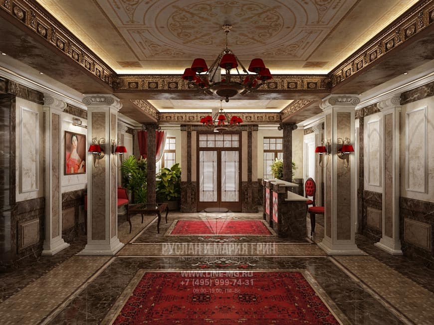 Фото дизайна интерьера холла мини-отеля «Рыбинский» в классическом стиле