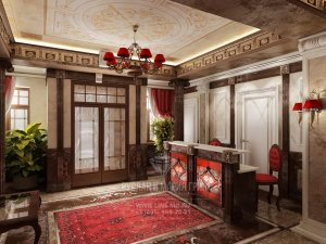 Фото интерьера мини-отеля «Рыбинский» в классическом стиле: ресепшн
