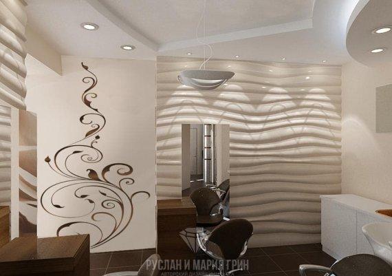 Современный дизайн интерьера в бежевых тонах с элементами футуризма и арт-деко.