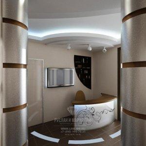 Дизайн серебристого холла в салоне красоты