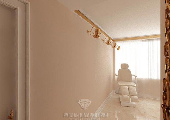 Интерьер кабинета маникюра в салоне красоты в бежевых тонах с элементами арт-деко и модерна