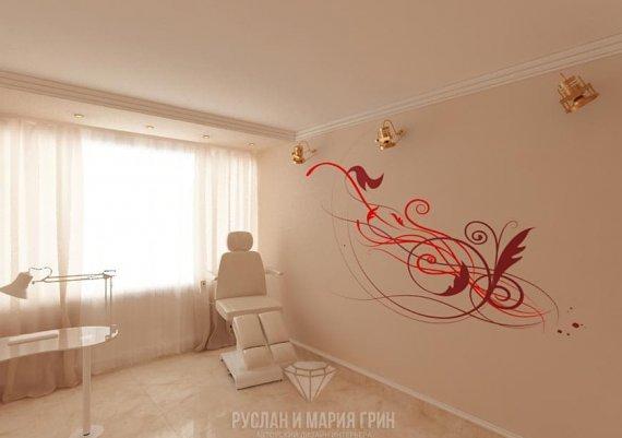 Интерьер кабинета педикюра в салоне красоты в бежевых тонах с элементами арт-деко и модерна