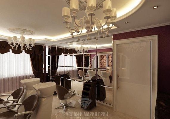 Интерьер общего зала в салоне красоты в лиловом цвете с элементами арт-деко и модерна