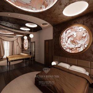 Фото интерьера спальни с зеркалами