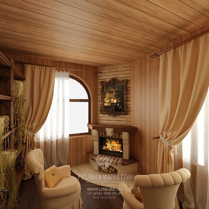 Фото дизайна интерьера гостиной-кухни в экостиле: камин