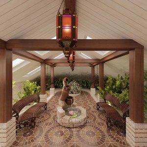 Интерьер зимнего сада с фонтанчиком и скамейками