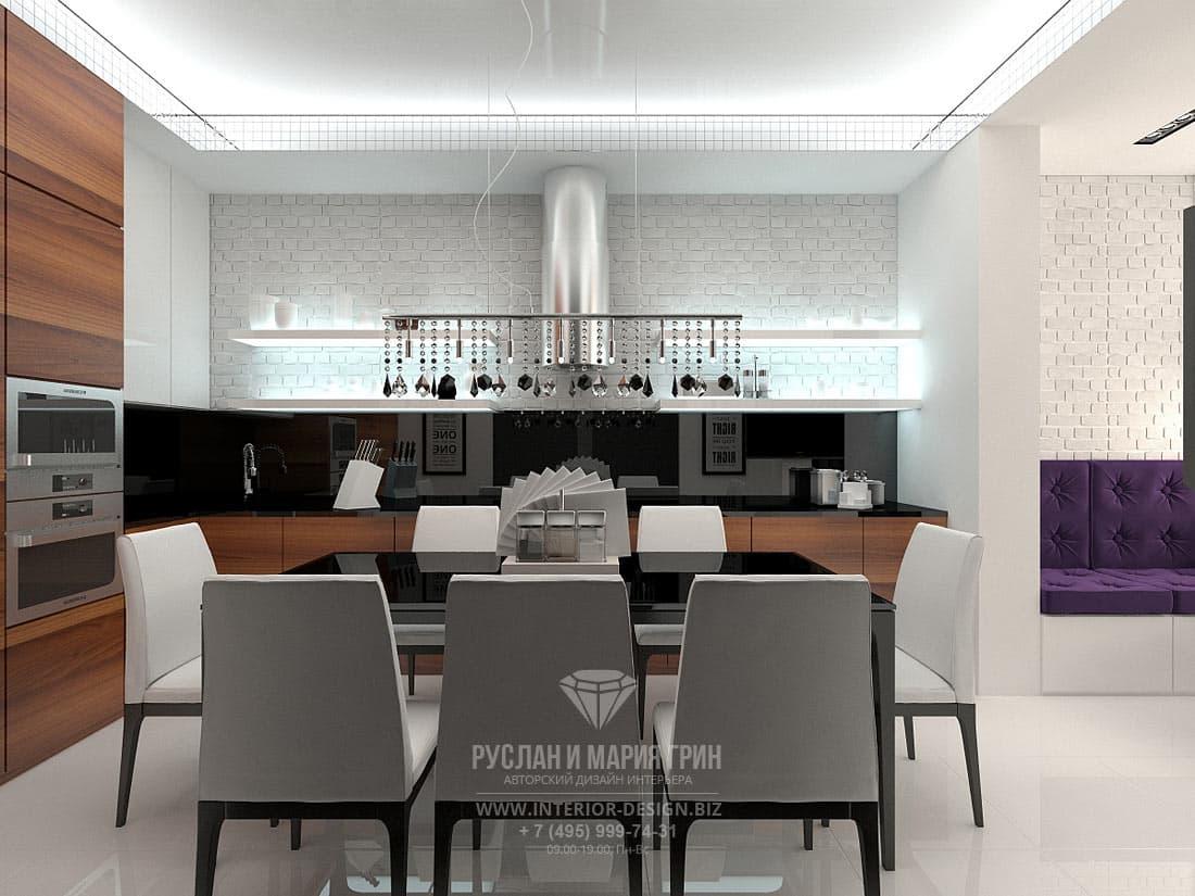 Керамогранит в дизайне пола на кухне