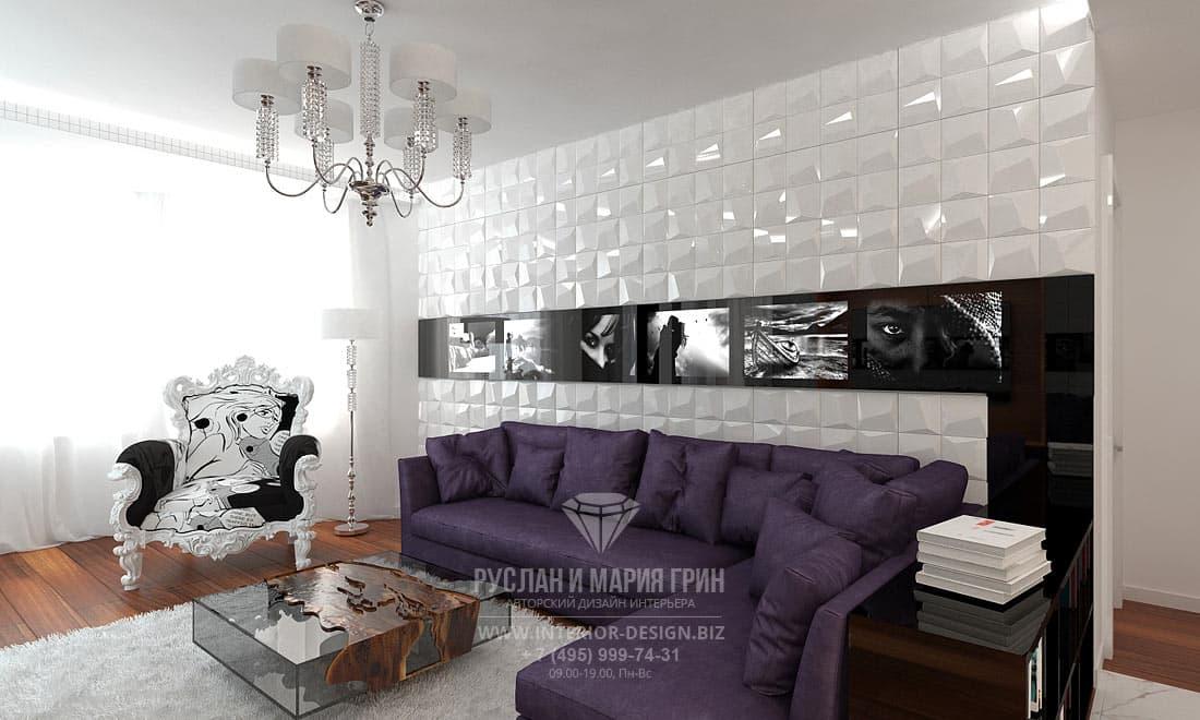 Дизайн большой гостиной в белых тонах