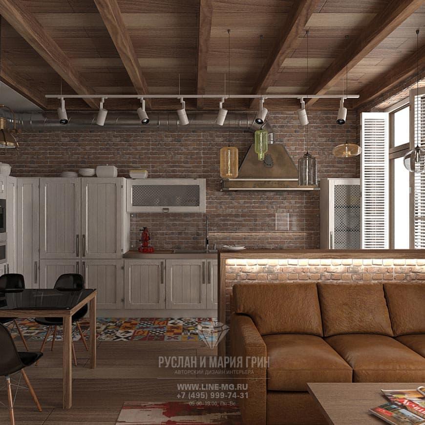 Фото интерьера кухни-гостиной в квартире в стиле лофт