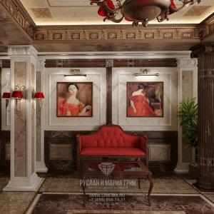 Интерьер холла гостиницы в классическом стиле
