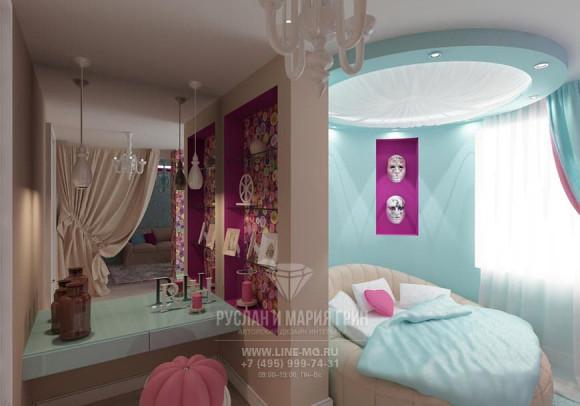 Фото интерьера современной детской комнаты для девочки