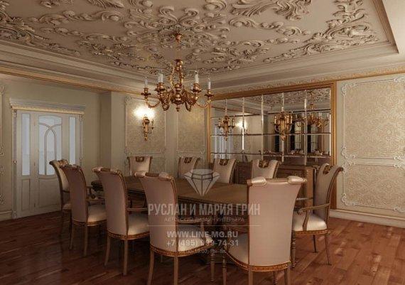 Фото интерьера столовой в классическом стиле