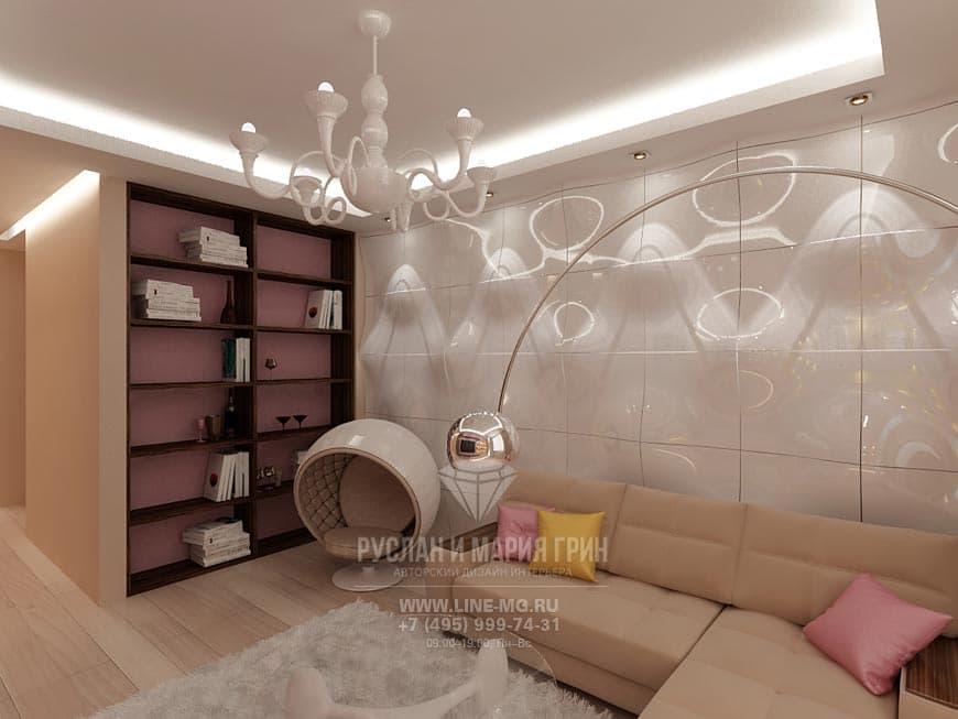 Футуристические мотивы в дизайне гостиной