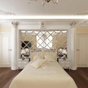 Современная идея дизайна спальни с классическим декором