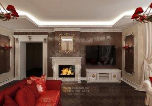 Дизайн гостиной в доме в Барвихе