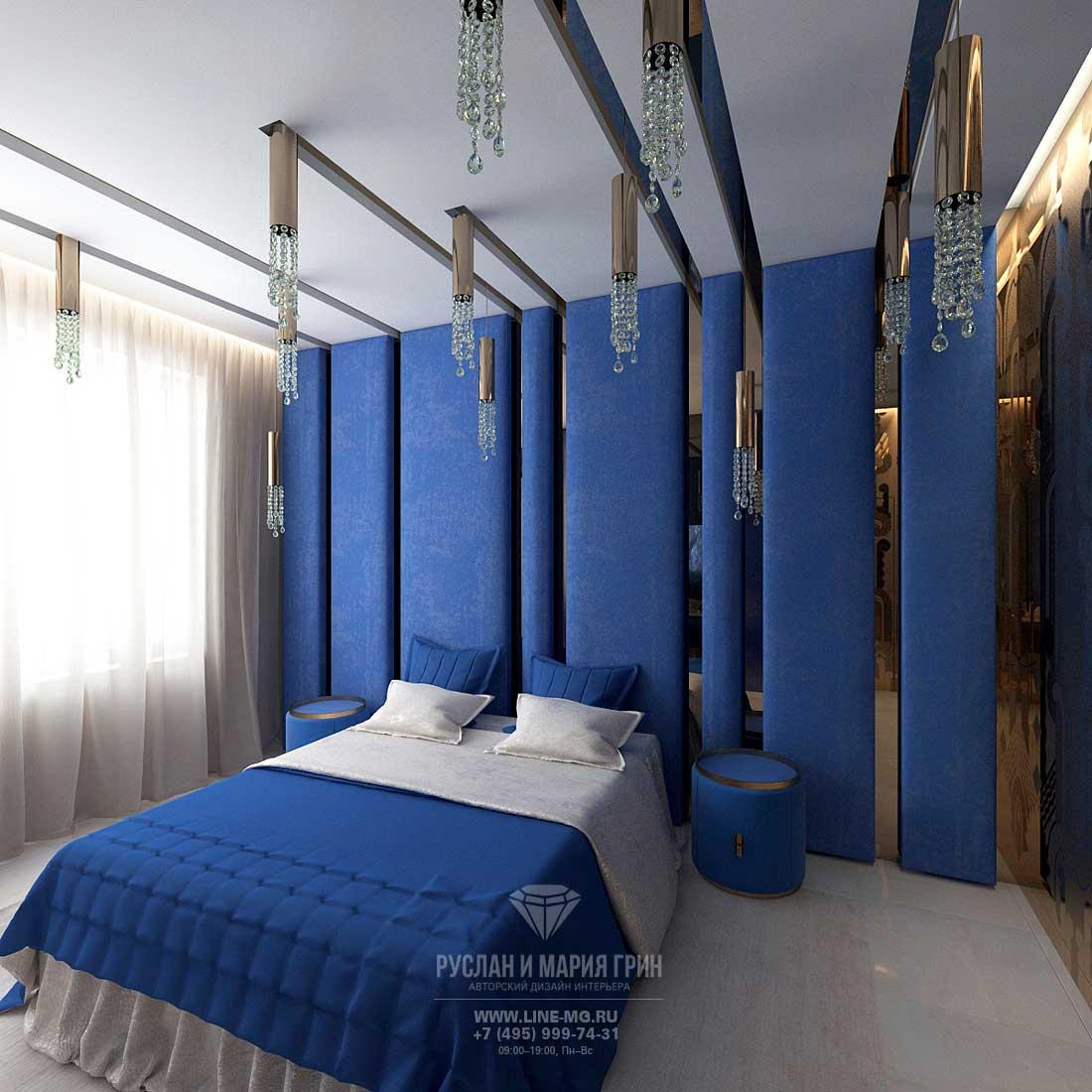 Фото 2015. Интерьер синей гостевой спальни