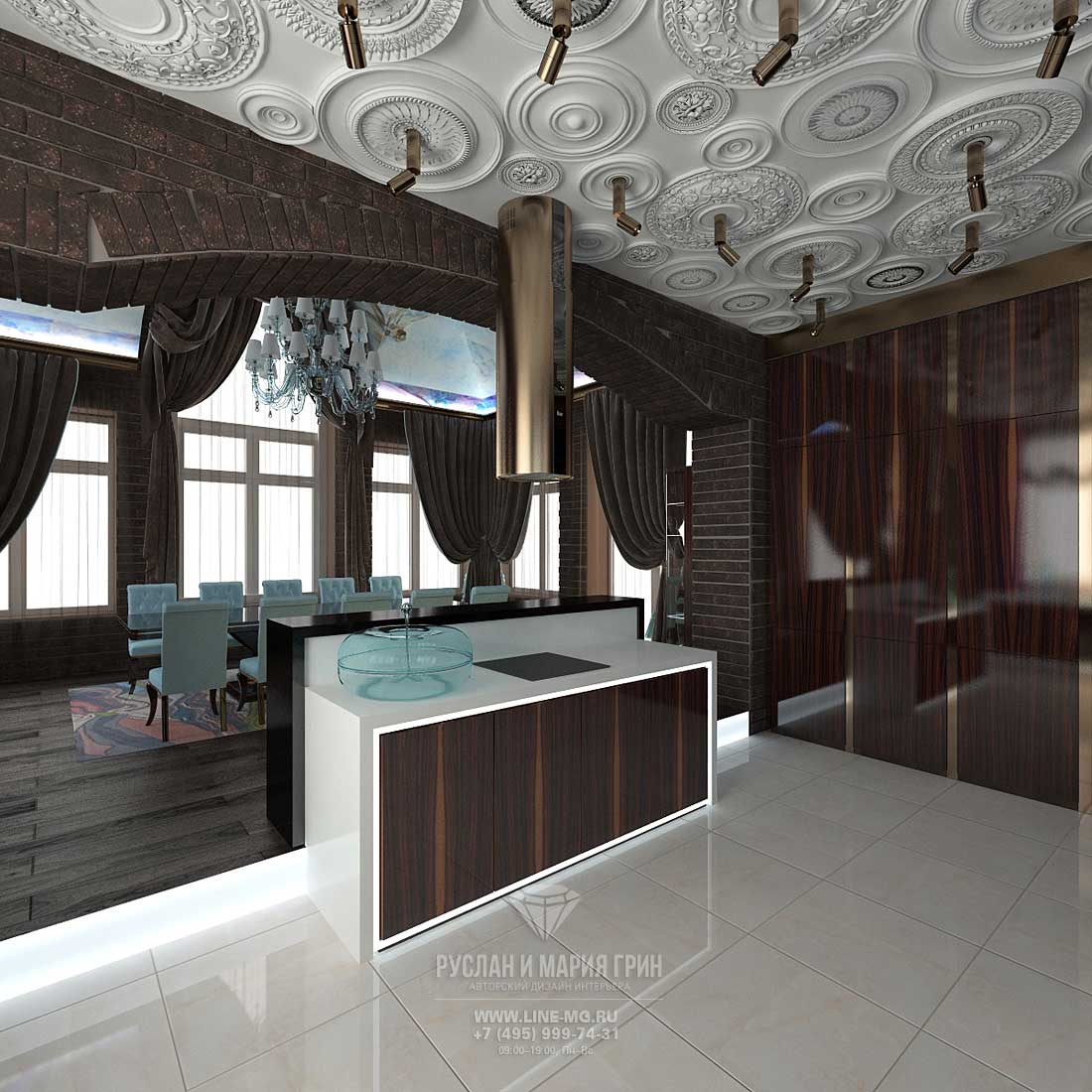 Kitchen design with a large number of rosettes on the ceiling