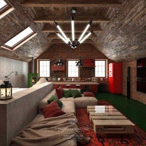 Дизайн мансарды c двускатной крышей в стиле лофт