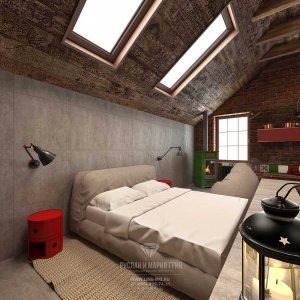 Дизайн мансарды c двускатной крышей