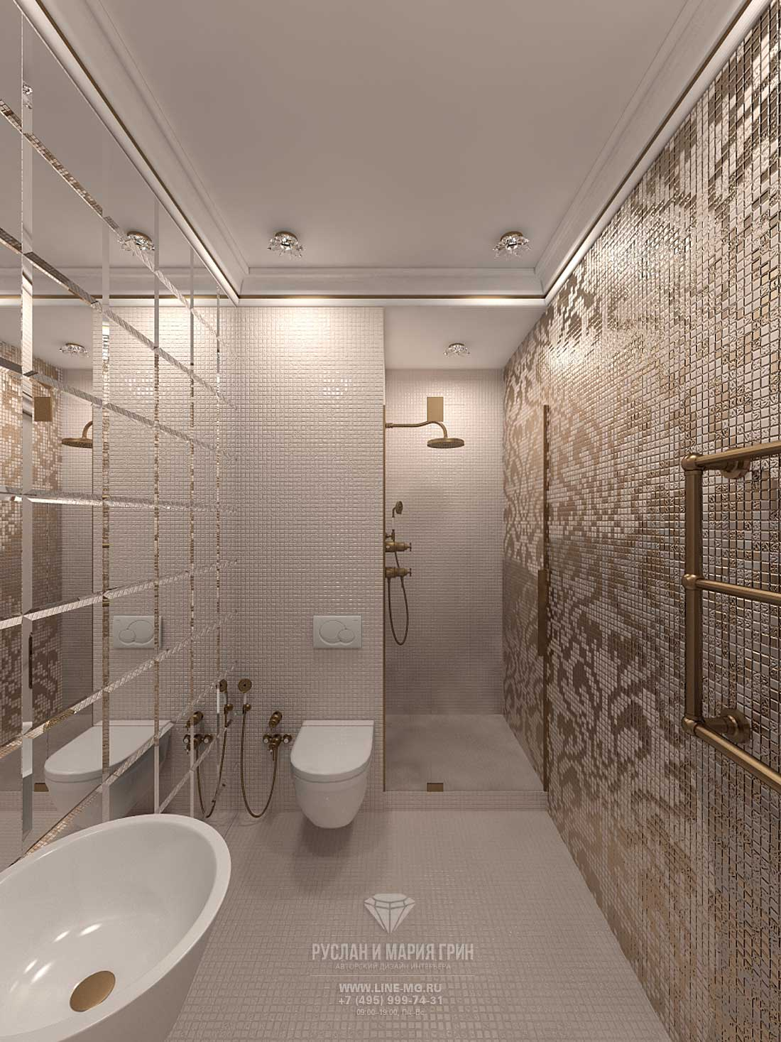 Интерьер ванной с душевой нишей