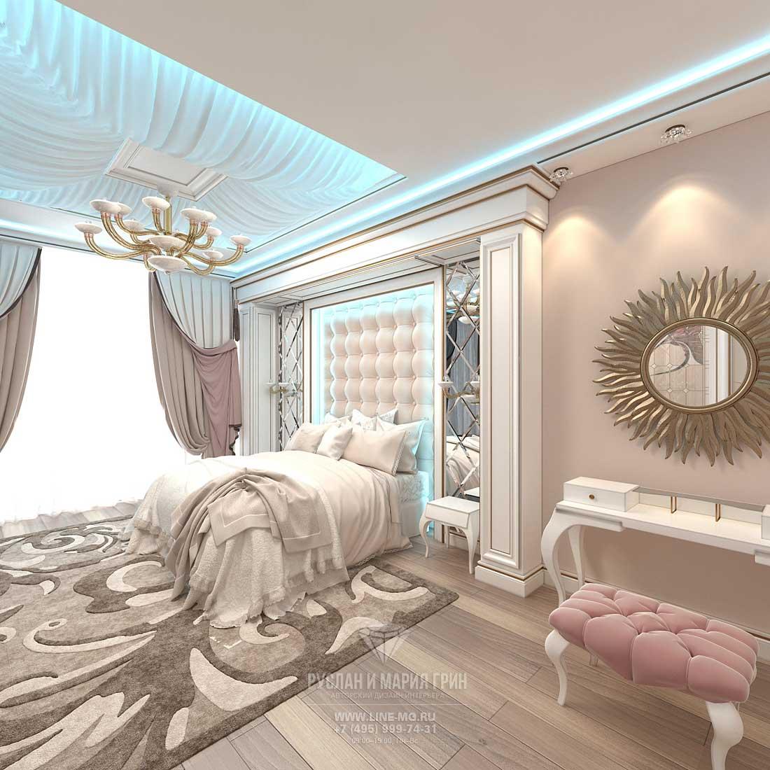 Дизайн спальни в бежевых тонах. Квартира в ЖК «Сколково Парк»