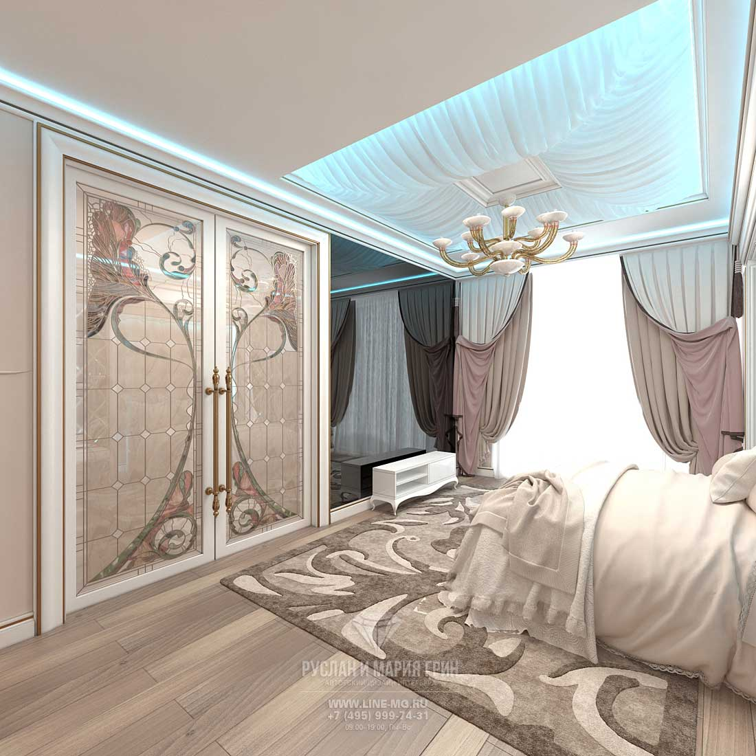 Bedroom design in beige tones. Apartment in Skolkovo Park