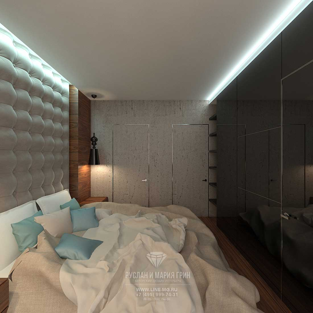Bedroom design in an apartment for a young man