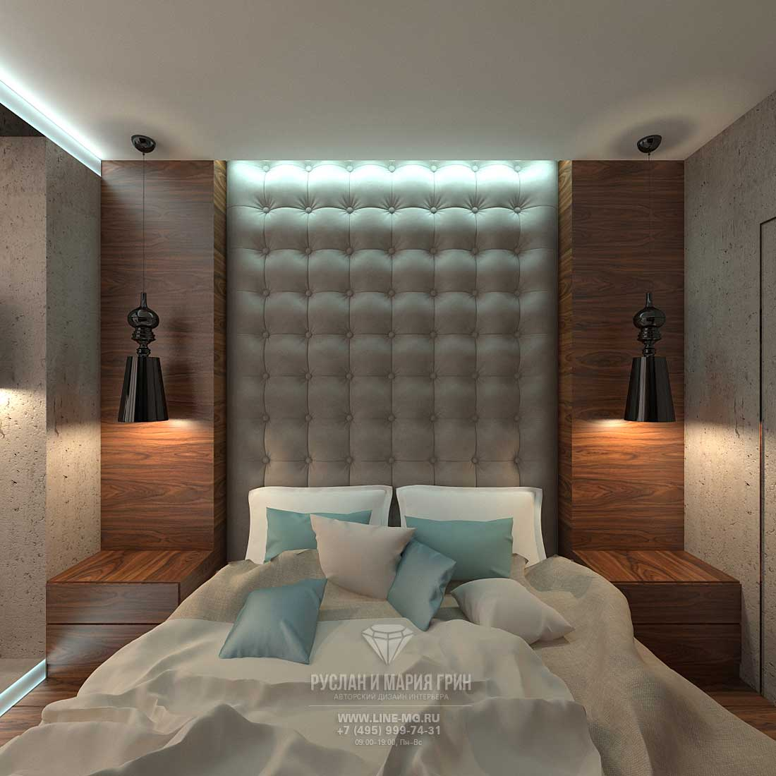 The design of modern bedroom. Photos 2015