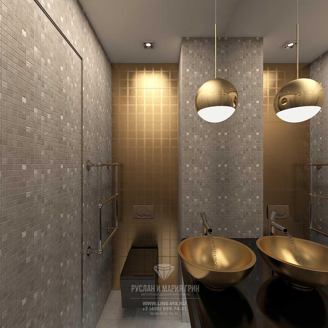 Современный дизайн ванной в бежевых тонах