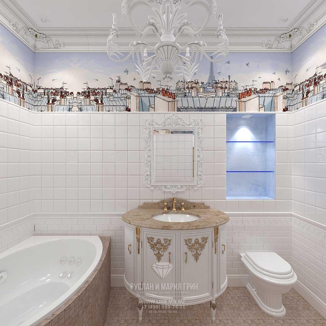 Светлая белая ванная комната