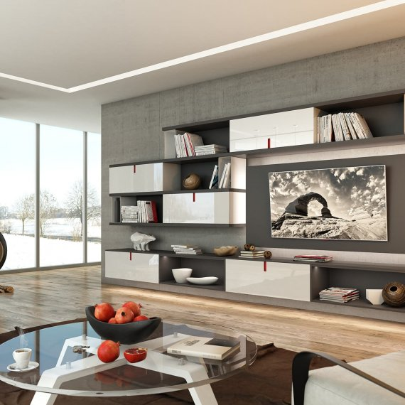Дизайн квартиры: новинка 2017. Фото гостиной в серых тонах