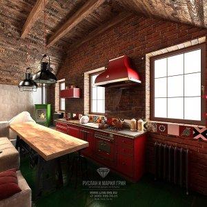 Дизайн кухни в современном стиле лофт