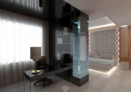 Дизайн спальни с кабинетом в загородном доме в Испании