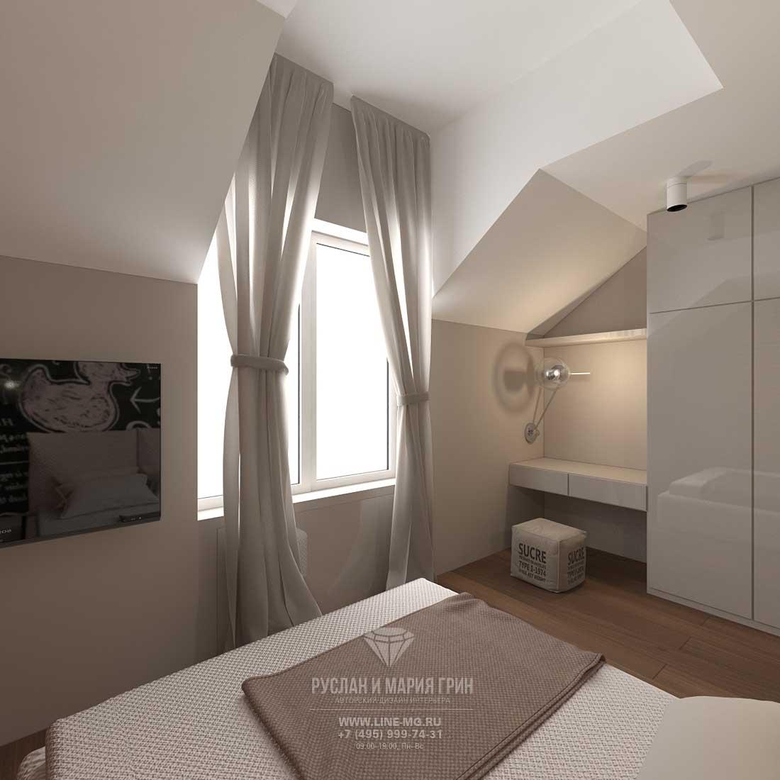 Дизайн гостевой спальни в загородном доме в стиле лофт