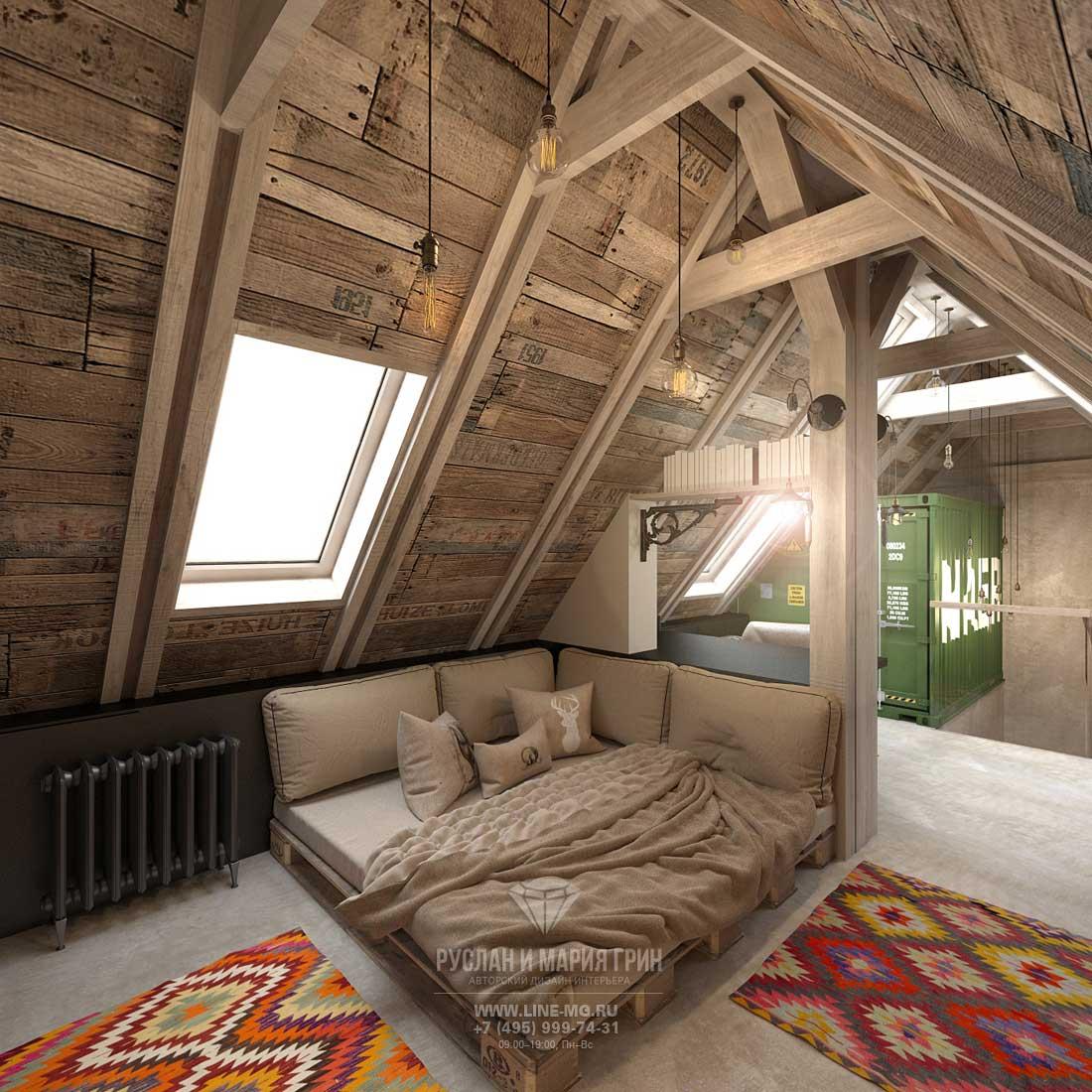 Дизайн мансарды в загородном доме в стиле лофт