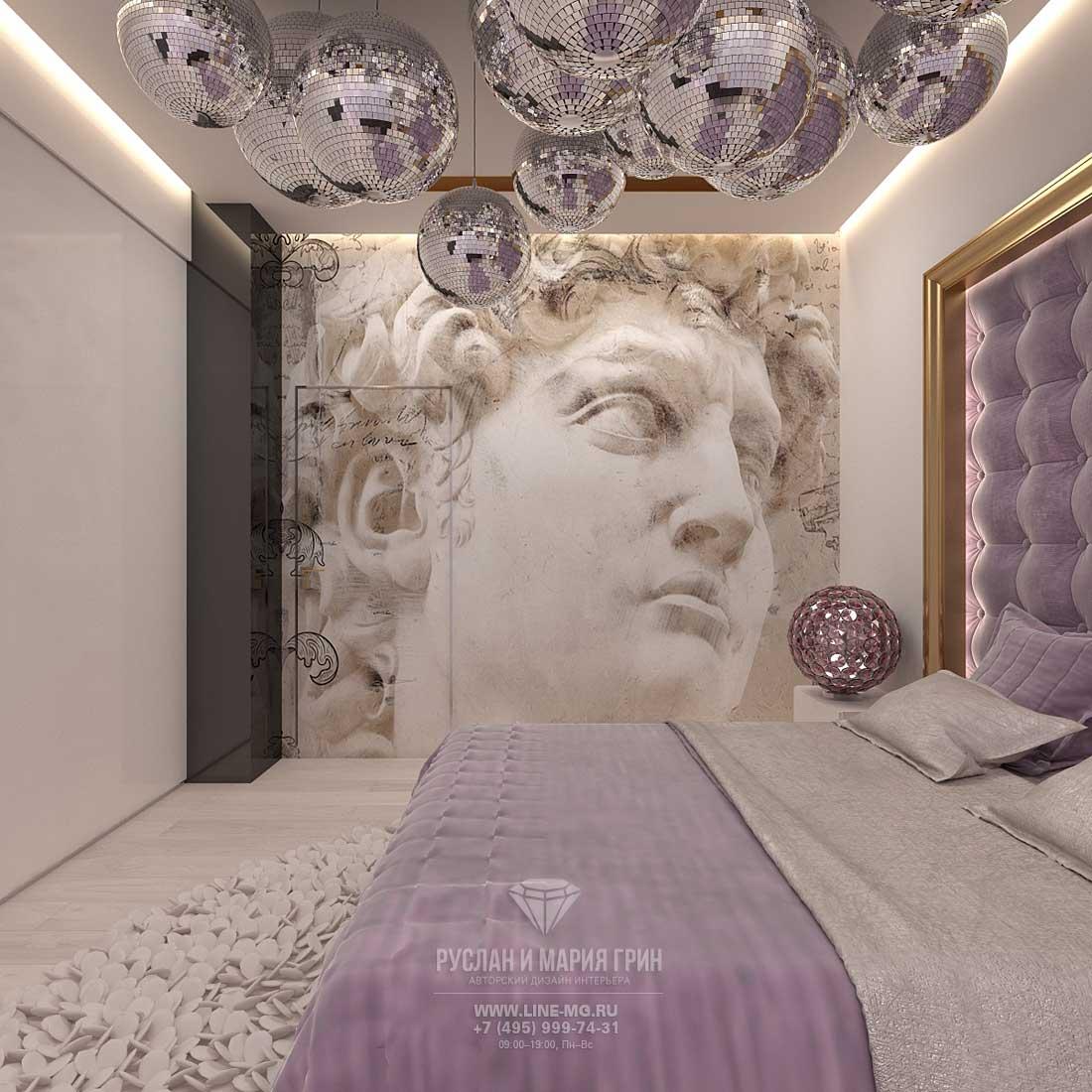 Дизайн лиловой спальни в квартире