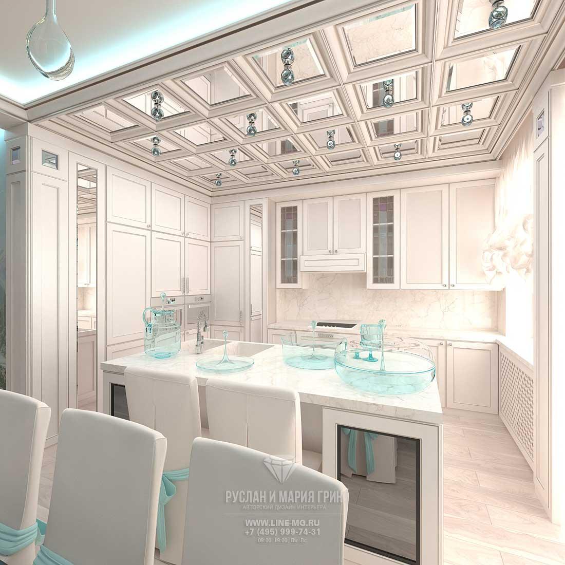 Неоклассическая кухня в белом цвете