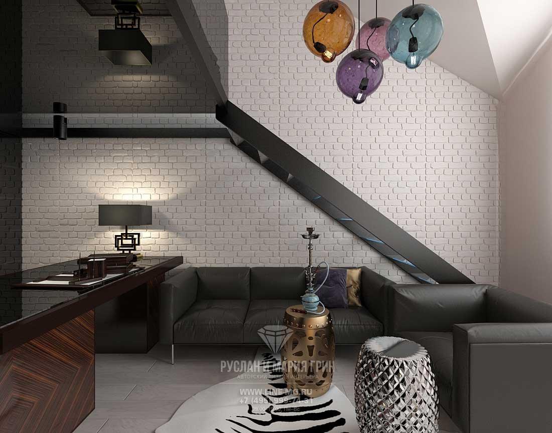 Ремонт загородного дома – современный кабинет с лестницей