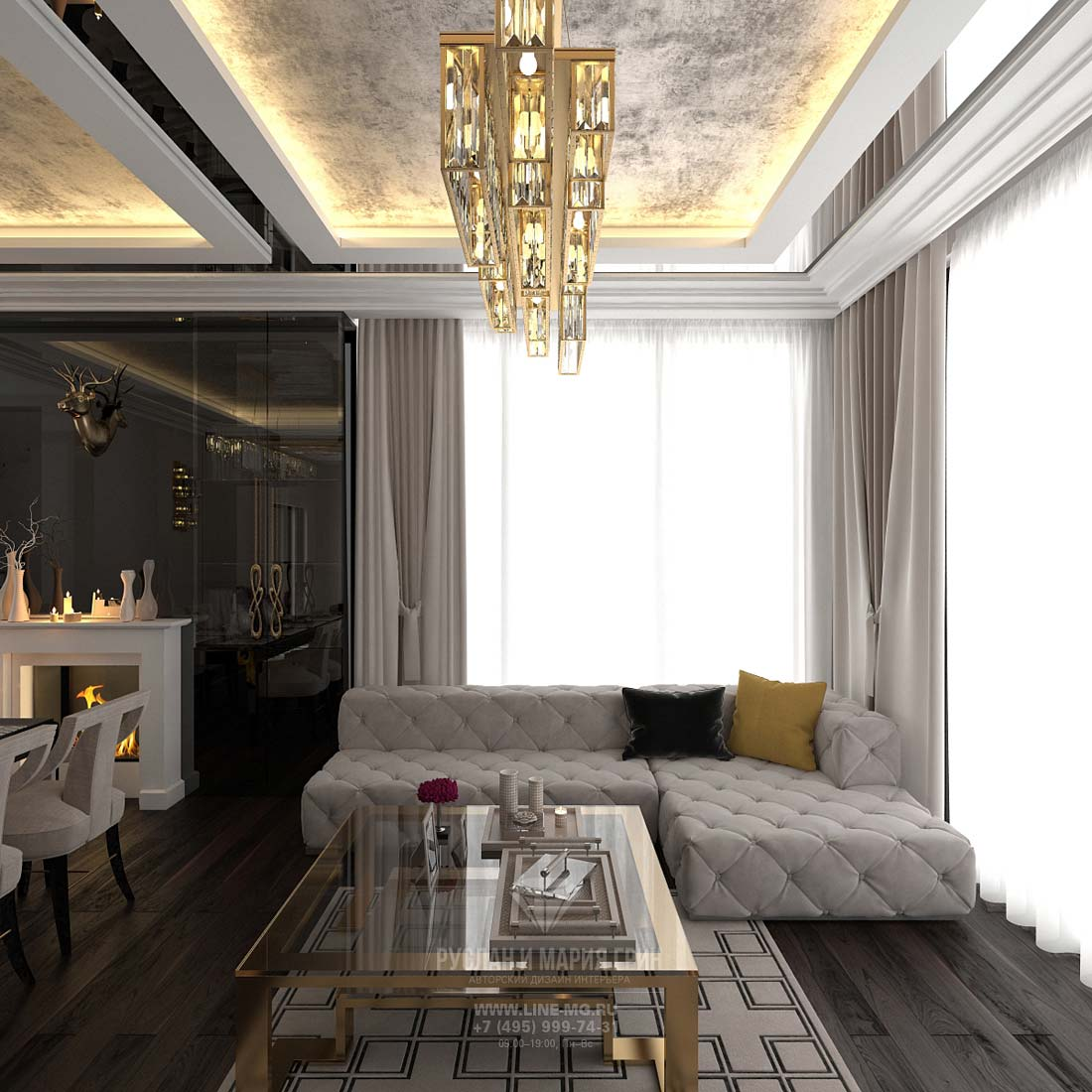 Living room desing in a modern cottage