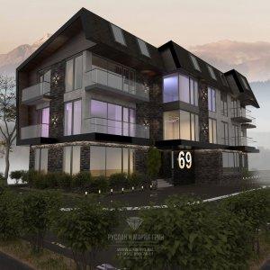 Дизайн гостиницы: фото фасада апарт-отеля
