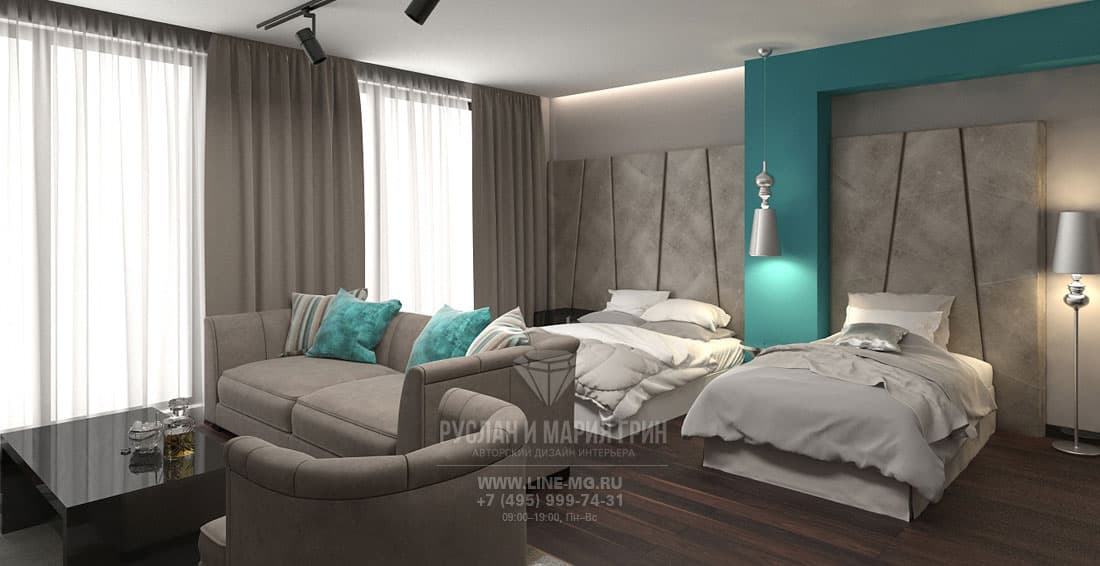 Room interior design of apart-hotel in Sochi